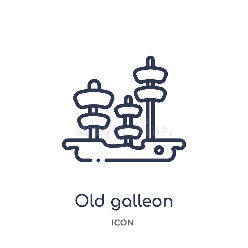 Old galleon icon from nautical outline collection. Thin line old galleon icon isolated on white background royalty free illustration