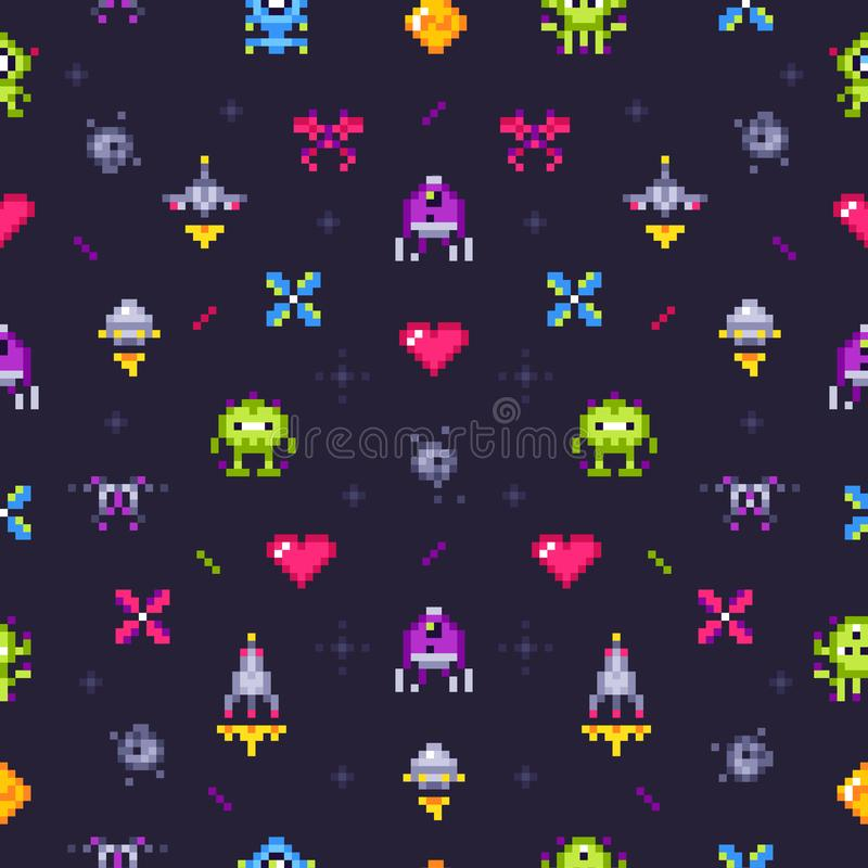 Old games seamless pattern. Retro gaming, pixels video game and pixel art arcade vector background illustration stock illustration