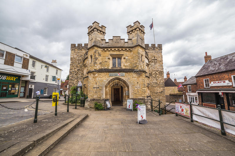 Old Gaol, Buckingham. BUCKINGHAM, UK - 4TH JULY 2016: A view of the Old Gaol in Buckingham Town center during the day. People can be seen stock photos