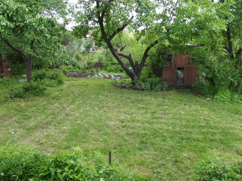 In the old garden, shorn lawns royalty free stock photos