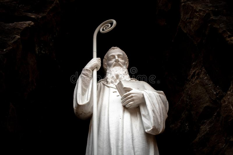 Old Garden Statue of A Saint stock photography