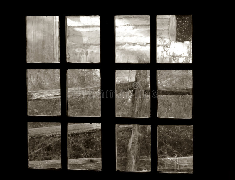 Download Old Garden View Through An Old Window Stock Photo - Image: 3282698
