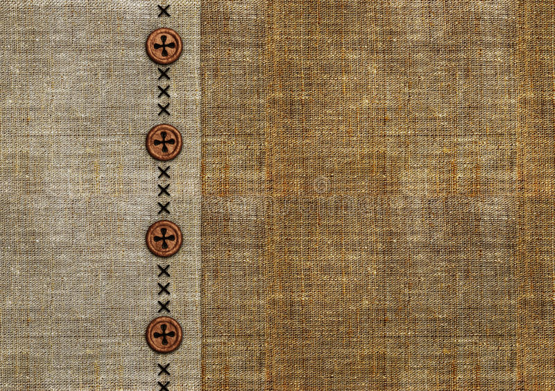 Old garment background. A close-up view of a piece of old rough garment, with buttons royalty free illustration