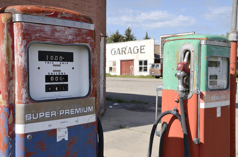 Old gas pumps. Abbandoned, situated near garage royalty free stock photo