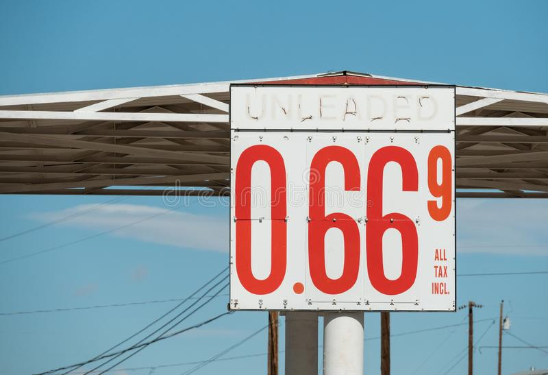 Cheap gas on Route 66 stock images