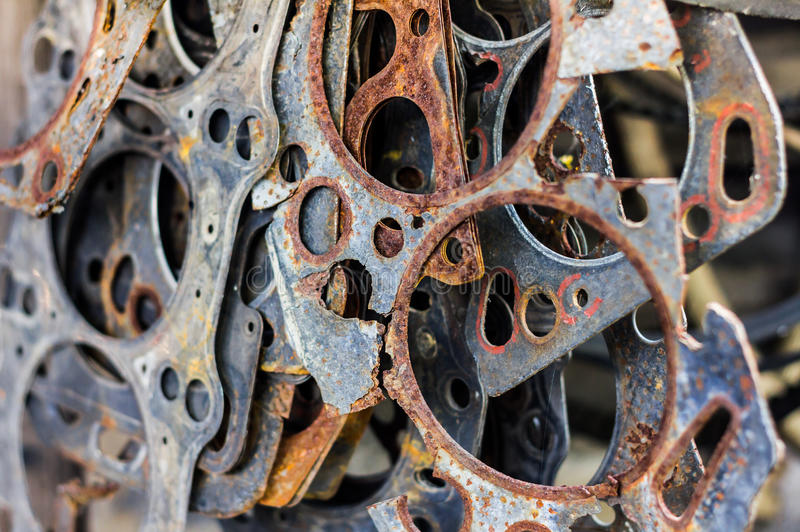 Old gasket. The old gasket that is in use, and many pieces are combined stock photo
