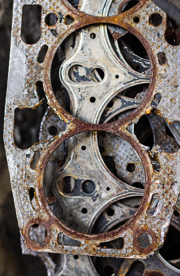 Old gasket. The old gasket that is in use, and many pieces are combined stock photos