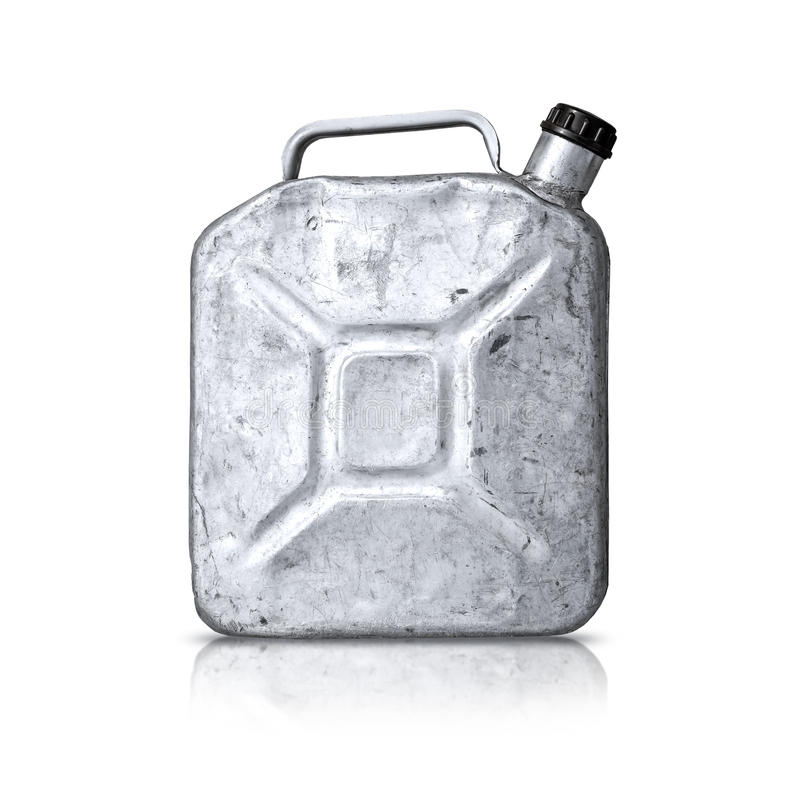 Old gasoline jerry can above white background stock photo