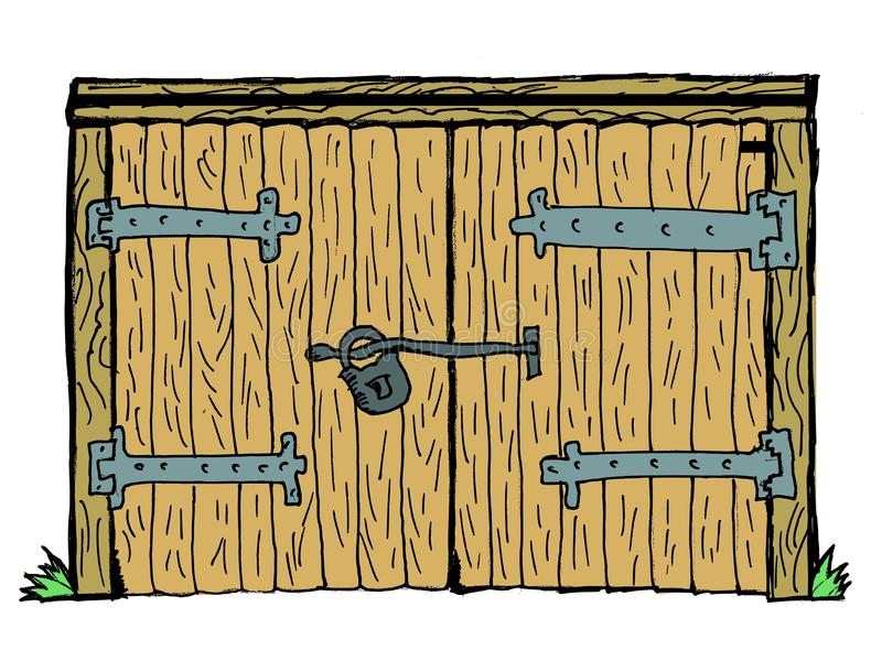 Old gate. Old wooden, locked gate on white background royalty free illustration