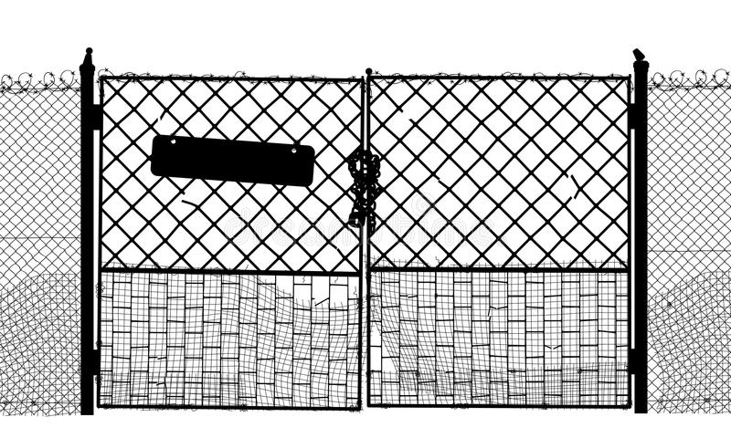 Old gate. EPS8 editable vector silhouette of an old security gate with sign, lock and two sides of gate as separate objects vector illustration