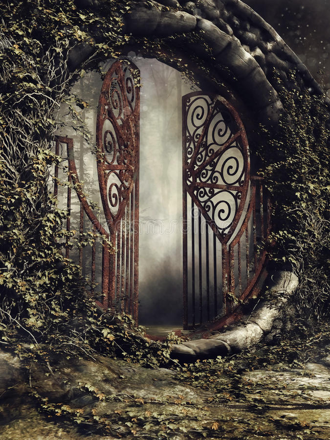 Old gate with ivy. Foggy scene with an old garden gate and ivy vector illustration