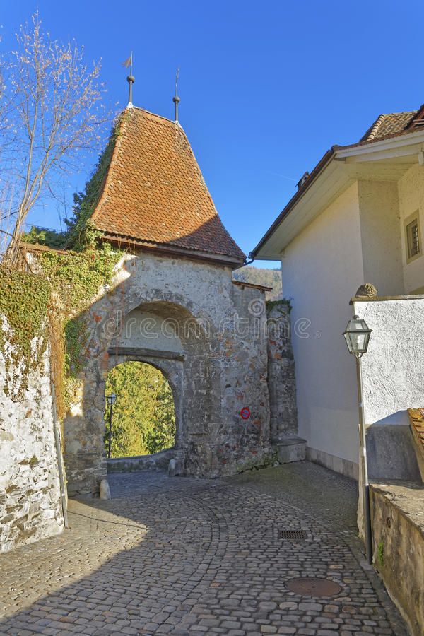Old Gate in the Old City of Thun royalty free stock photos
