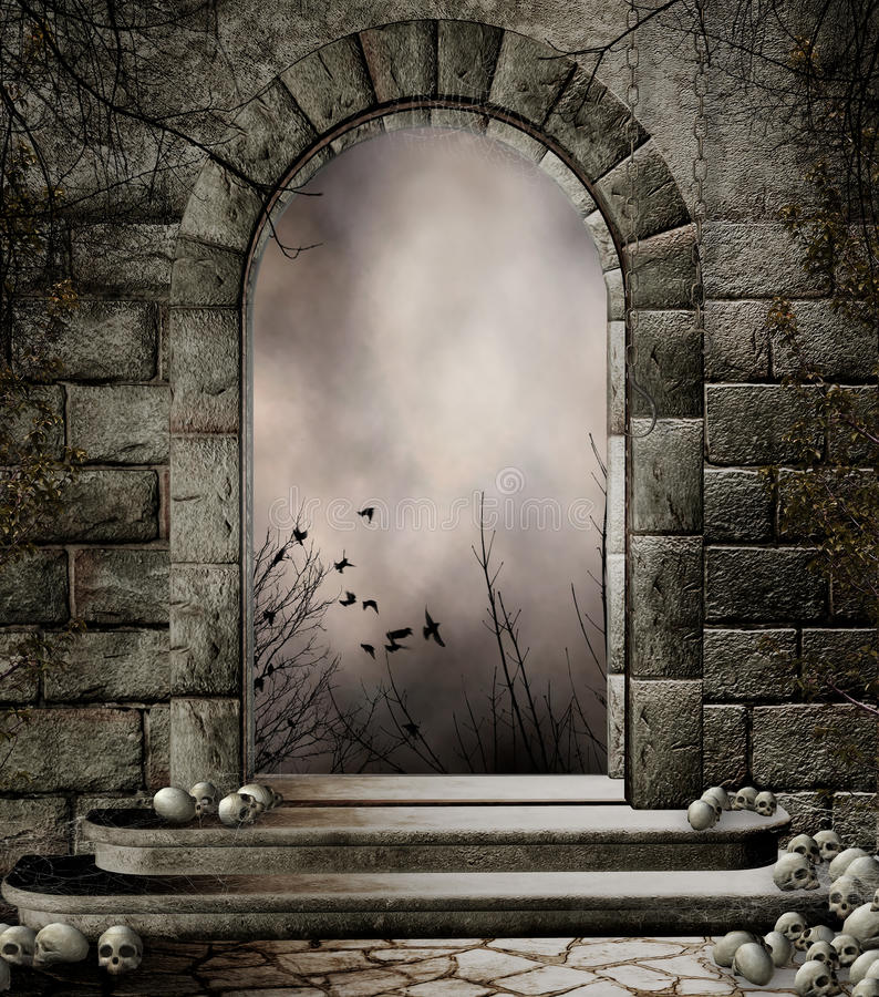 Old gateway with skulls royalty free illustration