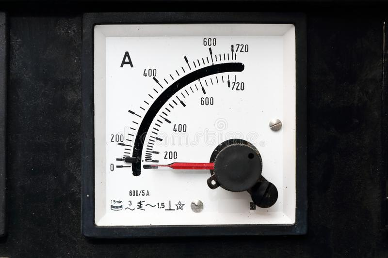 Old gauges for electricity with top indicator stock photography