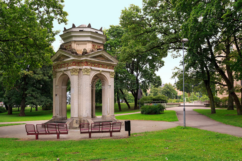 Old Gazebo in the Park Kronvalda. Riga, Latvia royalty free stock photography