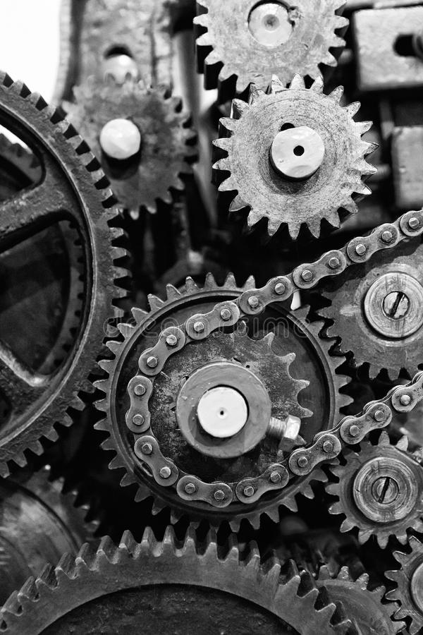 Old Engine Gears : Old gears and cogs of engine mechanism stock photo image