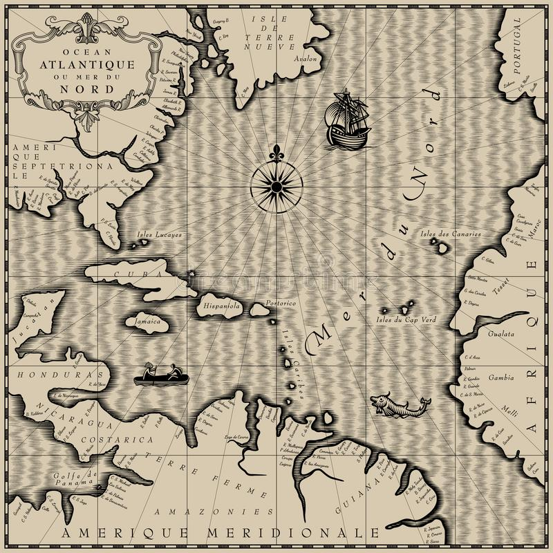 Old geographic map. Of Atlantic ocean region lands in a free interpretation with text. Retro chart background in black and white. Vintage engraving stylized stock illustration