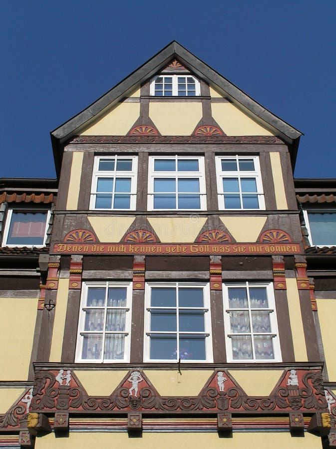 Old German Building. Circa 1500s, with the following inscription: Denen die mich kennen, gebe Gott, was sie mir gönnen stock photography