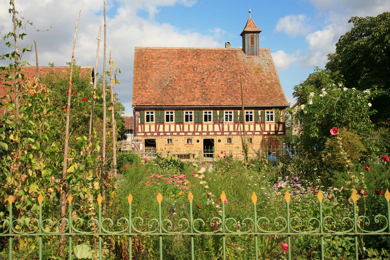 Old german cottage with cottage garden stock image image for German cottage house plans