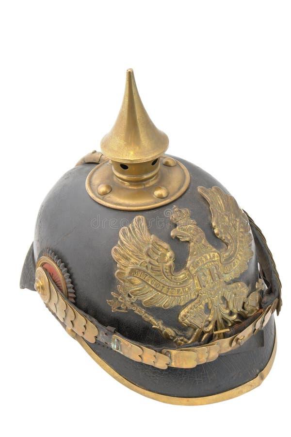 Old German helm (WWI). So called Pickelhaube (peaked helm royalty free stock photos