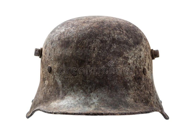 Old german helmet. Isolated on white background stock photography