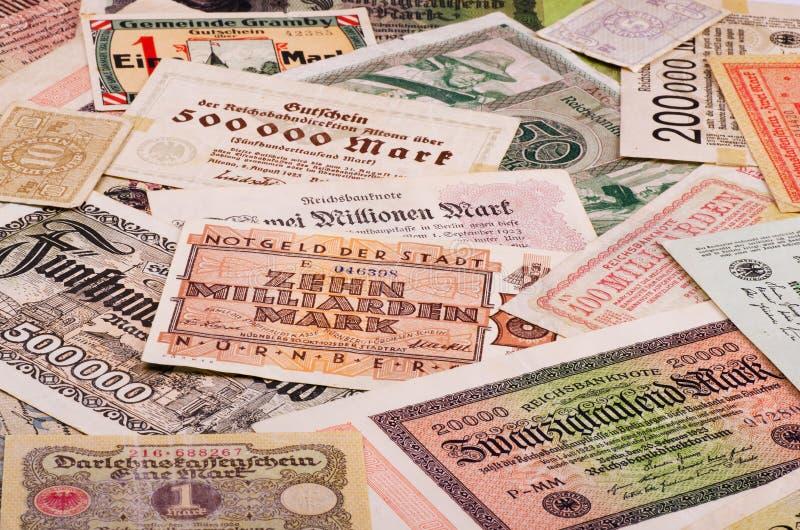 Old German money. Old German notes (Emergency money or notgeld royalty free stock images