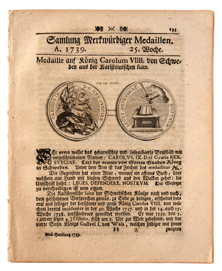 Old German Newspaper dated 1739 stock images