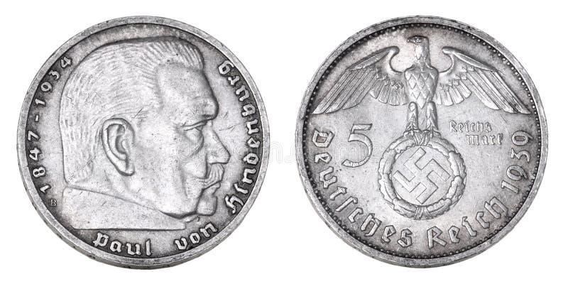 Old German silver mark 1939. Old German silver mark with a portrait Paul von Hindenburg 1939 royalty free stock photo