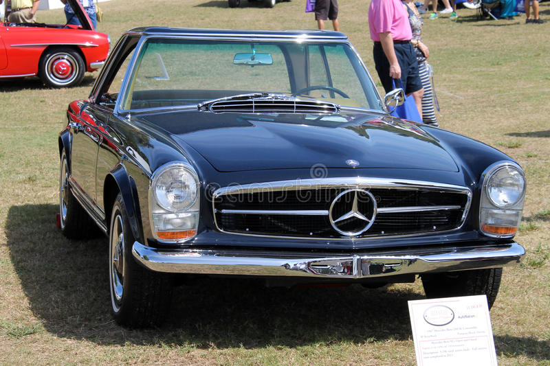 Old German sports car front. Black pagoda roof classic mercedes benz 250 SL convertible sportscar at car event in south Florida in 2014 stock images