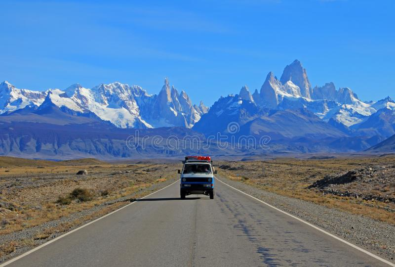 Old german vintage campervan traveling on the road from Los Glaciares National Park, Argentina stock image