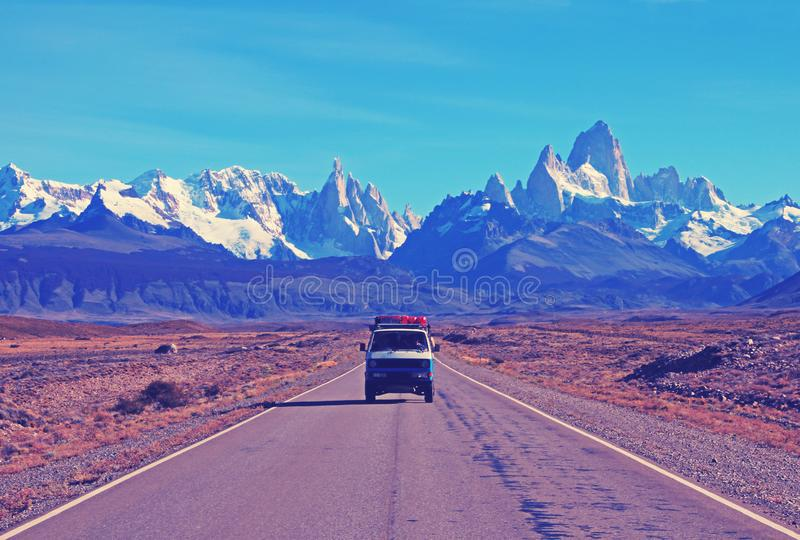 Old german vintage campervan traveling on the road from Los Glaciares National Park, Nashville retro vintage photo royalty free stock photography