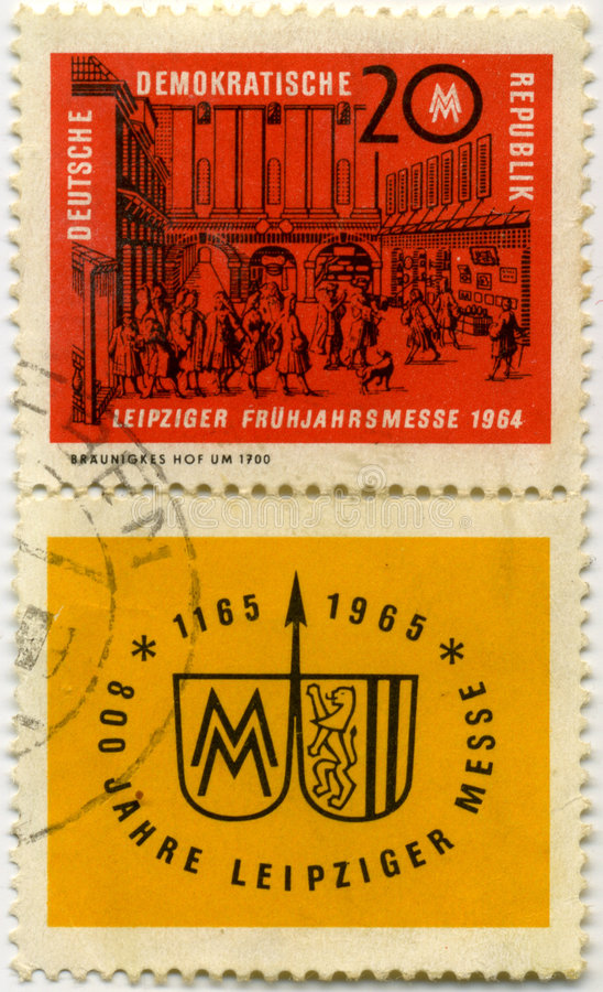 Old Germanic stamp. Old deutsch rmail stamp, German democratic republic stock photos