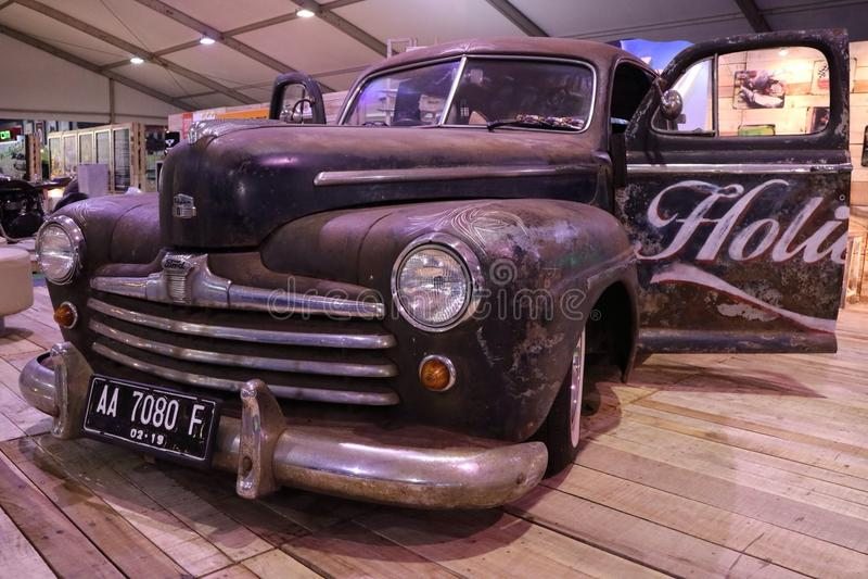 The old giant car's still shining. IMS exhibition Kemayoran royalty free stock photo