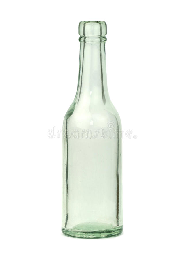 Old glass bottle isolated on white background stock image