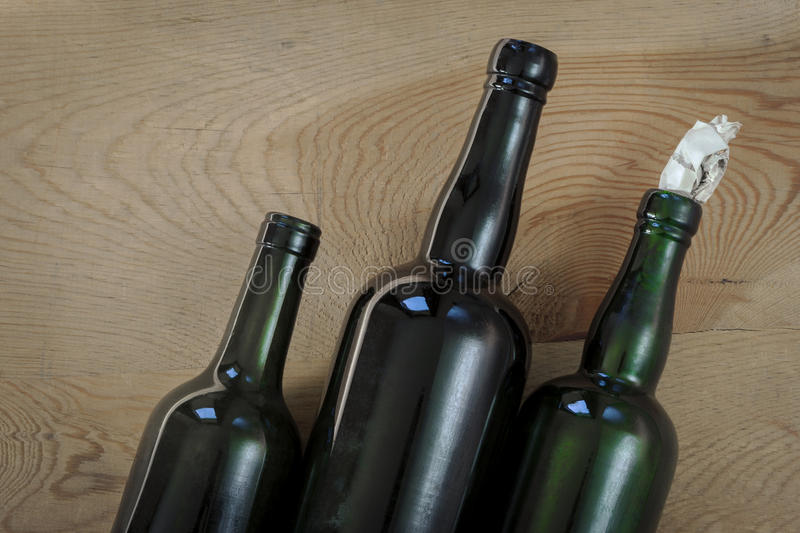 Old glass bottles stock image