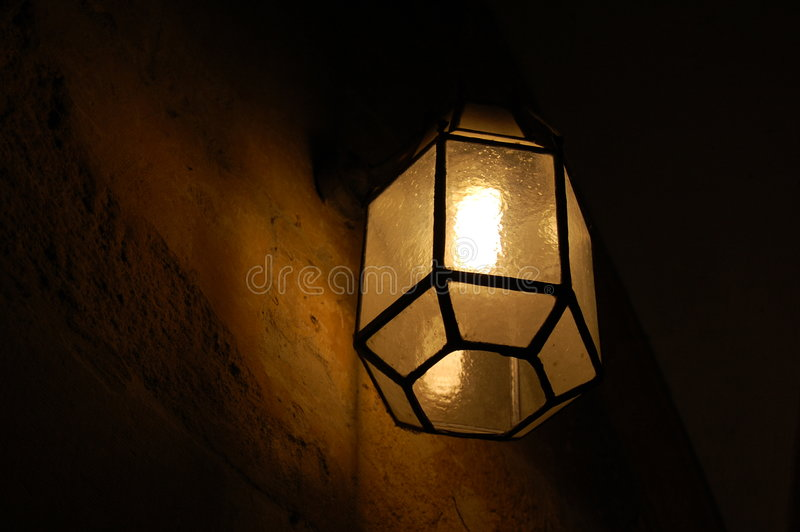Old Glass Lamp Shade stock photos