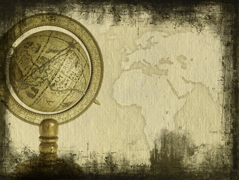Old globe. Grungy picture of old globe with copy space royalty free stock images