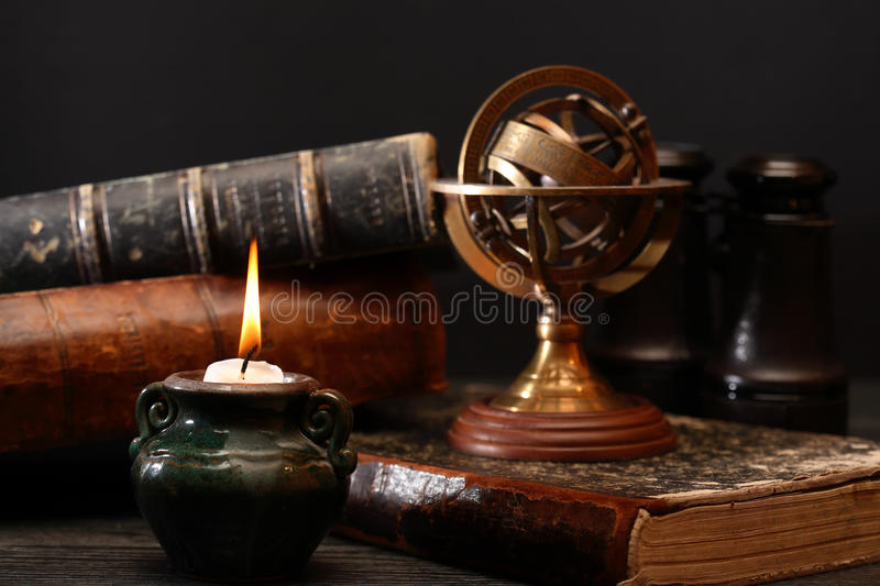 Old Globe And Books royalty free stock photo