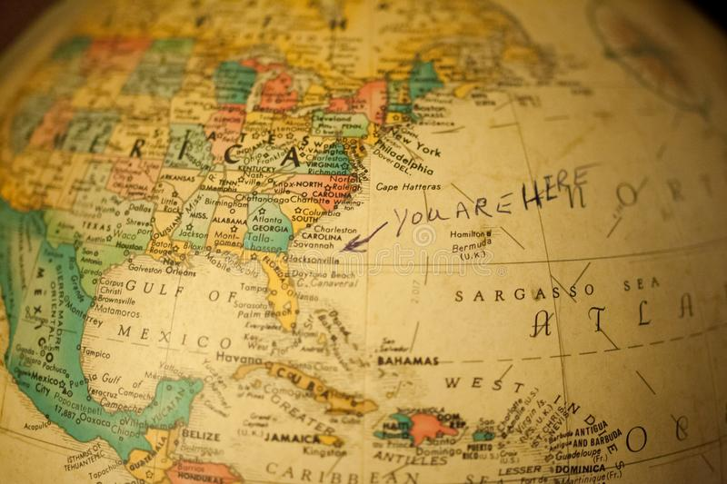Old globe map of the world royalty free stock image