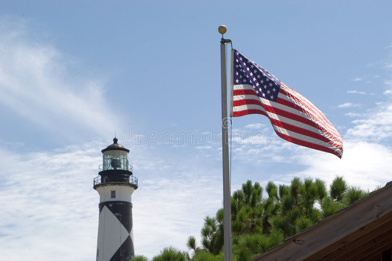 Old Glory on Cape Lookout royalty free stock photos