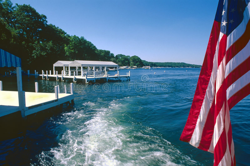 Download Old Glory Flag And Boat Wake Royalty Free Stock Photos - Image: 4889498