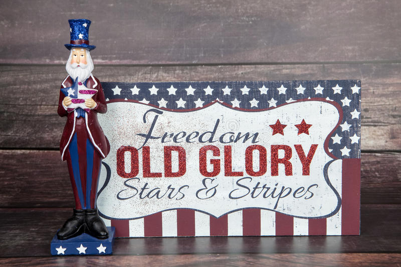 Old Glory. A patriotic sign with Uncle Sam for the holiday royalty free stock photo