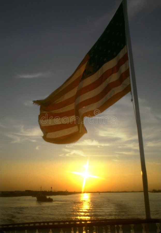 Download Old Glory at Sunset stock image. Image of american, america - 260393