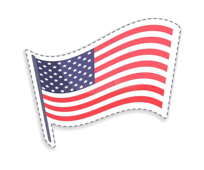 Old Glory on Pole USA Flag Vector Illustration royalty free illustration