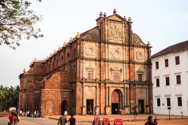 Basilica of Bom Jesus Borea Jezuchi Bajilika in Old Goa, India. Basilica is a UNESCO World Heritage Site. Old Goa, India - March, 10th, 2015. Basilica of Bom stock photos