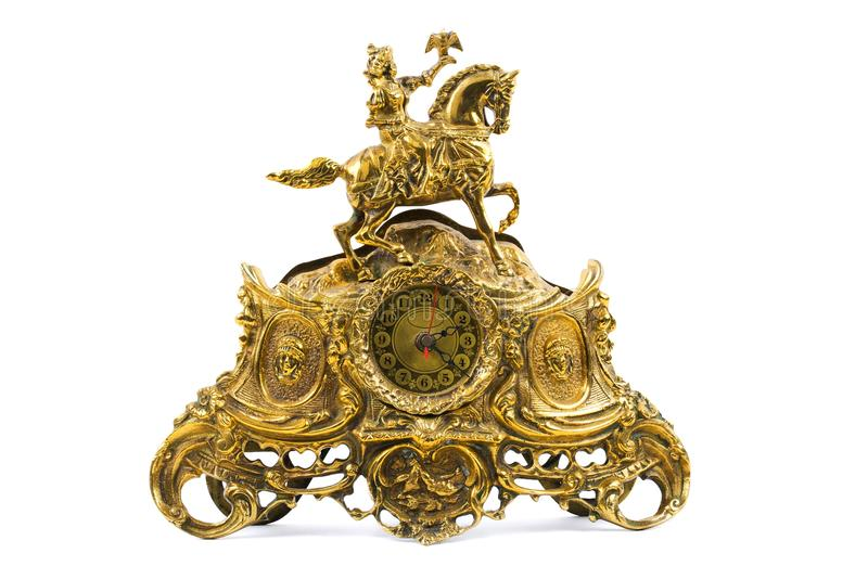 Old gold clock stock image