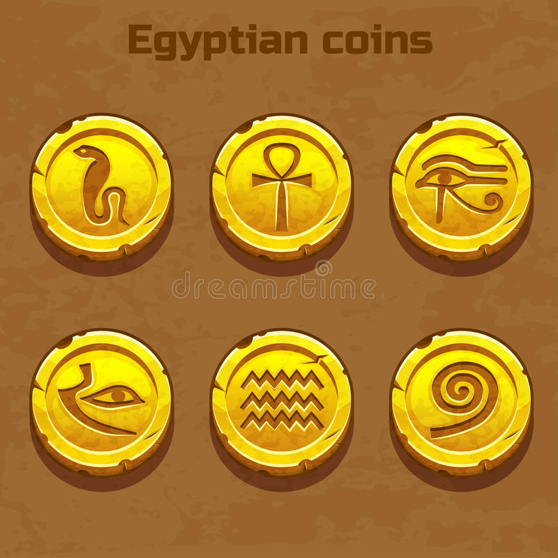 Old gold Egyptian coins, game element. Old gold Egyptian coins, resource gaming element royalty free illustration