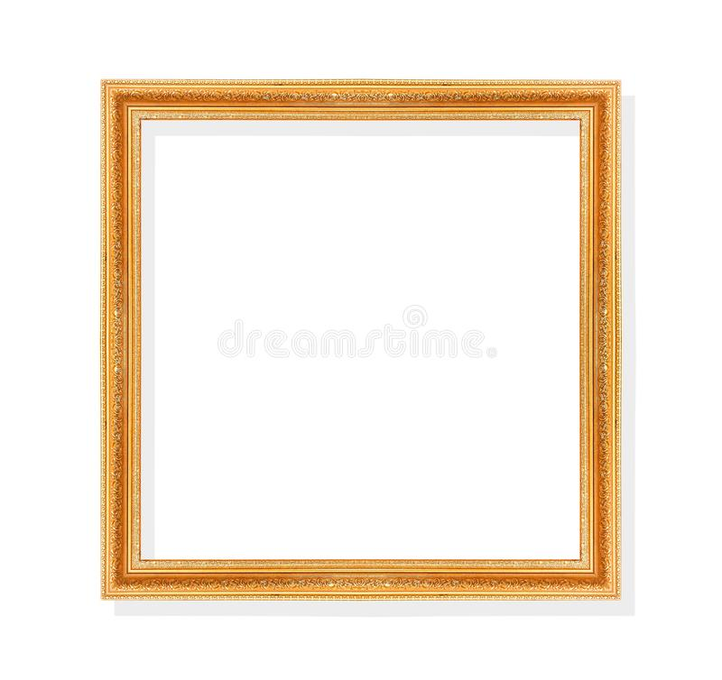 Old gold frame with leaves shape patterns isolated on white background and clipping path royalty free stock photo