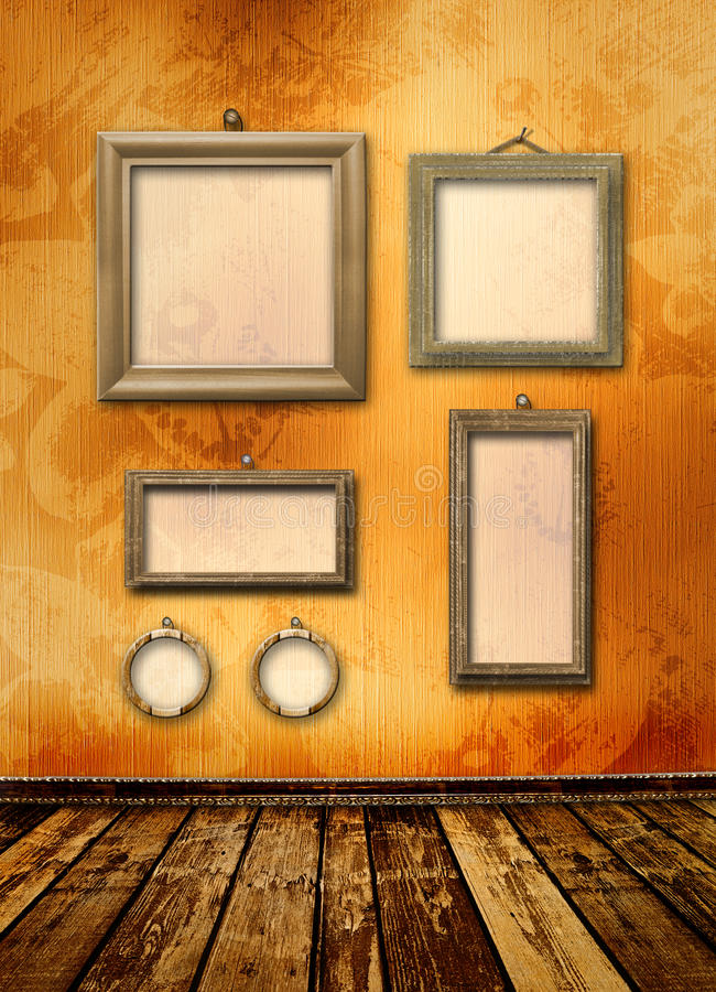 Old gold frames Victorian style on the wall vector illustration