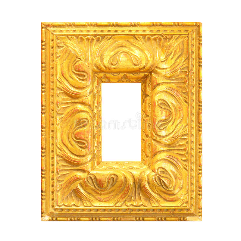 Old gold picture frame isolated stock photos